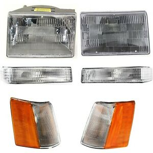 Headlight Kit For 97 98 Jeep Grand Cherokee Left And Right 6pc