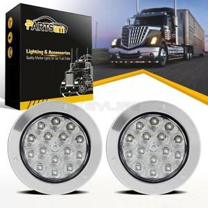 2x15 Led White 4 Round Tail Stop Turn Reverse Light Chrome Bezels Truck Trailer