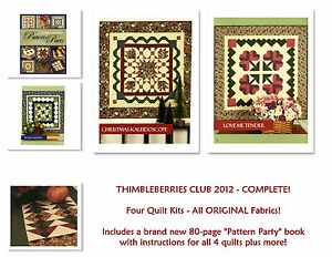 RARE Thimbleberries Club 2012 Pattern Party 4 COMPLETE KITS for the Full Year $265.00