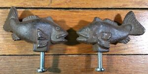 2 Fish Cast Iron Antique Style Rustic Handle Knob Pull Door Drawer Fishing