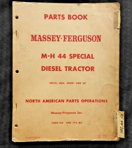 1952 61 Massey Harris M h 44 Special Diesel Tractor Parts Catalog Manual Good 1