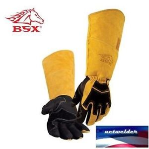 Revco Bsx Premium Pigskin cowhide Back Long Cuff Stick Welding Gloves Bs99