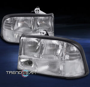 1998 2004 Gmc Sonoma 2001 Jimmy Crystal Replacement Style Headlights Lamp Chrome