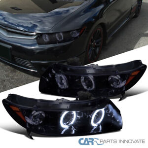 Glossy Piano Black Fit Honda 06 11 Civic 2dr Tinted Led Drl Projector Headlights