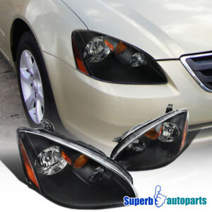 For 2002 2004 Nissan Altima Black Headlights Left Righ Replacement