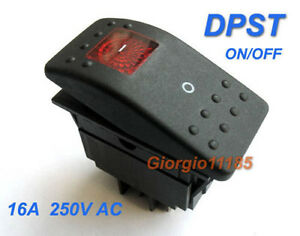 Us Stock Red Light Dpst Off on Rocker Switch Rk1 06 Double Pole Single Throw