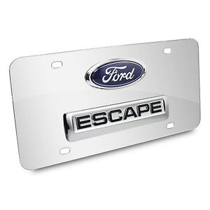 Ford Escape Double 3d Logo Chrome Stainless Steel License Plate Made In Usa