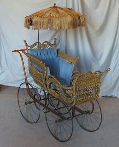 Antique Large Wicker Baby Carriage Buggy With Parasol Umbrella