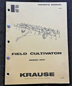 1972 Krause Model 1501 Field Cultivator Operator Parts Manual Very Good Shape