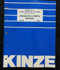 Kinze Model 3110 3 point Mounted Planter Operator Parts Catalog Manual Nice