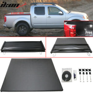 For 05 16 Nissan Frontier 5 Feet Short Bed Tri Fold Soft Tonneau Cover Black
