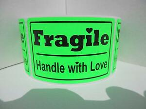Fragile Handle With Love 2x3 Fluorescent Green Warning Stickers Labels 250 rl