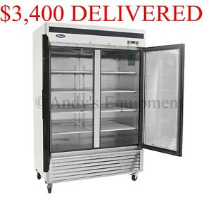 Atosa Double 2 Two glass Door Commercial Restaurant Upright Freezer On Casters