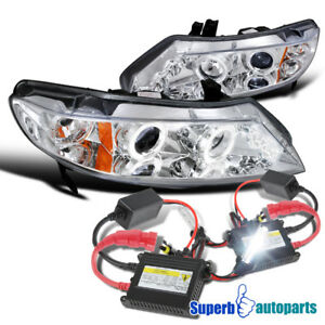 For 2006 2011 Civic 4d Led Halo Projector Headlight h1 Slim Hid