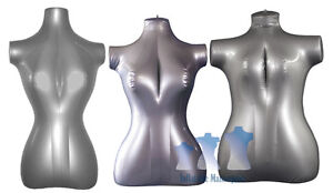 Inflatable Mannequin Female Torso Package Silver