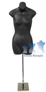 Female 3 4 Black And Tall Adjustable Mannequin Stand With 8 Square Base