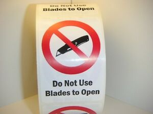 50 Labels Do Not Use Blades To Open 2x3 Warning Labels Stickers