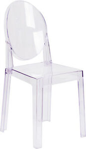 Lot Of 10 Ice Cream Yogurt Shop Transparent Ghost Crystal Chair With Oval Back