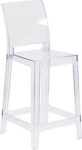 Lot Of 10 Ice Cream Yogurt Shop Ghost Crystal Counter Stool With Square Back