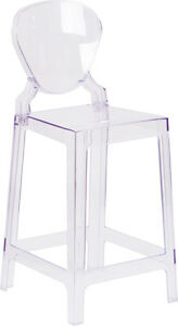 Lot Of 10 Ice Cream Yogurt Shop Ghost Crystal Counter Stool With Tear Back