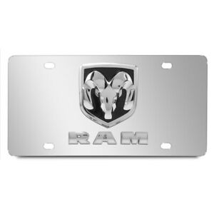Dodge Ram Double 3d Logo Chrome Stainless Steel License Plate Made In Usa