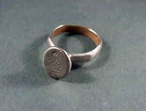Ancient Silver Ring With Geometric Design Roman 100 300 Ad