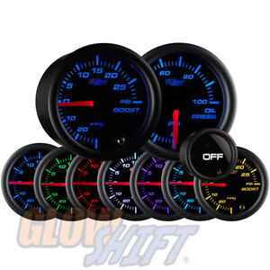 Glowshift 52mm Tinted 7 Color 30psi Boost 100psi Oil Pressure Gauge Set
