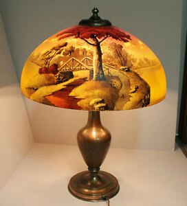 Reverse Painted Landscape Scene With Bridge Scene Pairpoint Base Lamp