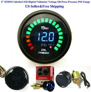 Us 2 52mm Colorful Led Digital Voltmeter Voltage Oil Press Pressure Psi Gauge