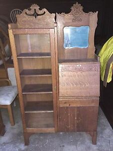 Antique Oak Side By Side Secretary Desk And Bookcase