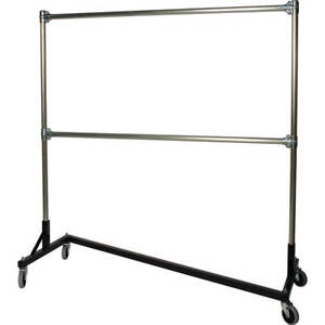 Z rack Laundry Room Clothes Rack 60 L X 72 Uprights Double Rail Black 260722