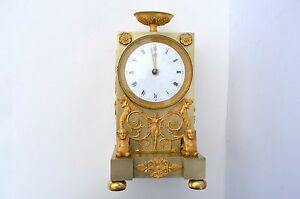 Antique French Gilded Bronze Mantle Clock With A Electromechanical Movement