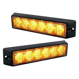 2pc 6w Amber Led Strobe Warning Grille Lights For Cars Trucks Emergency Vehicles