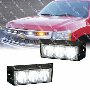 2pc 3w Led Volunteer Firefighter Personal Vehicle Strobe Warning Light White