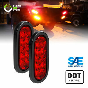 2pc Dot Submersible Red 6 Oval Led Trailer Tail Light Kit W Grommet