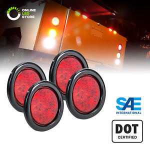 4pc 4 Red Round Led Truck Rv Trailer Tail Lights Turn Stop Brake Waterproof