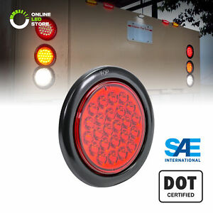 Ols 4 Round Red 24 Led Turn Stop Brake Trailer Tail Light For Jeep Truck Rv