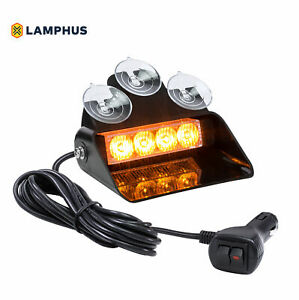 4w Amber Led Strobe Warning Dash Lights For Emergency Vehicles Cars Trucks