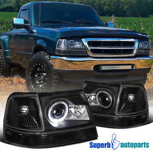 For 1998 2000 Ford Ranger Halo Projector Headlights Black Corner Signal Lamps