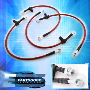 96 00 Honda Civic Front Rear Red Stainless Steel Hose Oil Brake Line Cable Black