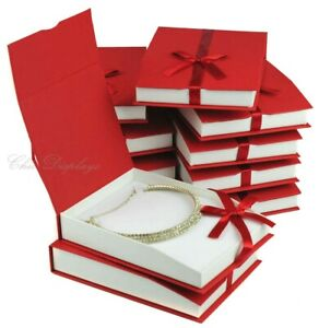 12 Pc Necklace Boxes Red Jewelry Boxes Large Necklace Boxes Showcase Gift Boxes
