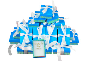 Earring Gift Boxes Earring Jewelry Boxes 40 pc Blue Wholesale Jewelry Gift Boxes