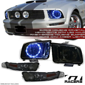 For 05 09 Ford Mustang Smoke Drl Led Halo Headlights Nb signal Bumper Lamp Am Jy