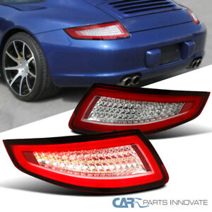 05 08 Porsche 911 997 Gt3 Gt2 Turbo Carrera Targa Red Clear Lens Led Tail Lights