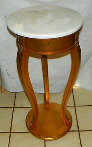 Mahogany Gold Painted Marble Top Plant Stand By Weiman Rp Ps75