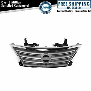 Front Upper Chrome Silver Grill Grille Assembly For Nissan Sentra S Sl Sv New