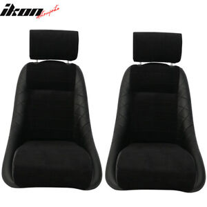 2x Classic Bucket Single Seat With Sliders Suede Black Polyurethane Faux Leather
