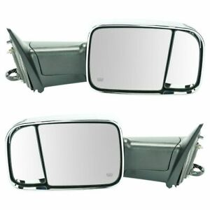 Towing Mirror Power Folding Heated Turn Signal Memory Chrome Pair Set For Ram