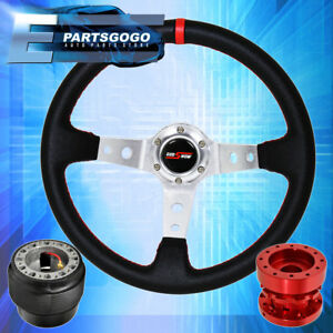 Deep Dish Black Steering Wheel Red Stitching Red Extender For 88 91 Civic