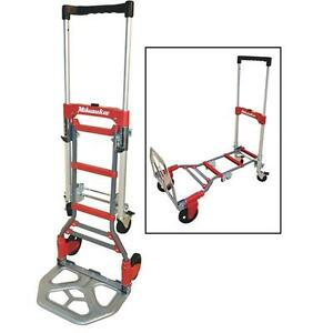 Milwaukee 300 Lb Capacity 2 in 1 Hand Truck Dolly Work Cart Trailer Haul Wagon